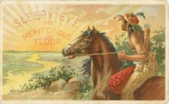 1907 8 19 SLEEPY EYE THE MERITORIOUS FLOUR THE SUN NEVER SETS ON USERS OF SLEEPY EYE FLOUR POSTCARD front