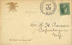 1910 ca. Embossed comic racecar postcard back