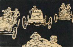 1910 ca. Embossed comic racecar postcard front