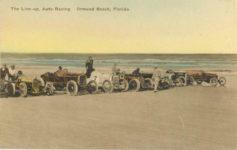1910 ca. The Line up Auto Racing Ormond Beach Florida The Albertype NY racecar postcard front