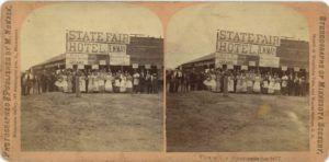 1877 Minnesota State Fair STATE FAIR HOTEL EM MAY View at The Minneapolis fair 1877 M. Nowack Minneapolis stereoview 7″×3.5″