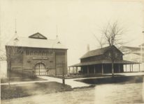 1903 ca. Minnesota State Fair Institute Hall (Ramberg Center there now), Old Settler Cabin (Territorial Pioneers) & Women's Building 12″×10″ image 8.25″×6″