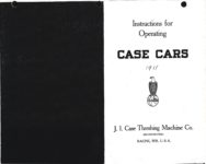 1911 CASE Instructions for Operating CASE CARS J.I. Case Threshing Machine Co. Racine, WIS AACA Library xerox page 1