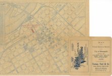 1910 ca. Map of the Central Business District of Minneapolis Hotel Vendome Foreman, Ford & Co. 17″×11″ back