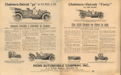 "1910 CHALMERS-DETROIT Chalmers-Detroit ""30"" 1910 Model 1500 Charlmers-Detroit ""Forty"" for 1910 $2,750 AACA Library 2 pages"