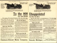 1910 CHALMERS-DETROIT To the 800 Disappointed AACA Library 11.75″×9″ 2 pages