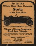 1913 STUTZ See the 1913 Official Road Race Champion Stutz at the Auto Show AACA Library clipping 4″×5.5″