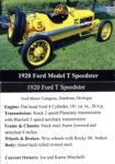 1920 Ford Model T Speedster trading card