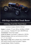 1920 Rajo Ford Dirt Track Racer trading card