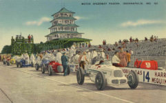 1950 ca. Indy 500 MOTOR SPEEDWAY PAGODA INDIANAPOLIS IND 101 linen postcard front