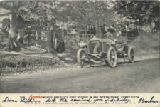 1906 Vanderbilt Cup Race THE 90 H. P. Locomobile MAKING AMERICA BEST RECORD IN ANY INTERNATIONAL COMPETITION postcard front