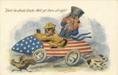 1907 Don't be afraid Uncle. We'll get there all right! Fred C. Lounsbury embossed comic postcard front