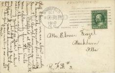 1910 9 29 BROOKIN AEROPLANE CHICAGO TO SPRINGFIELD, SEPT. 29, 1910 POST/PEORIA Barney Oldfield RPPC back