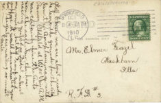 1910 9 29 BROOKIN AEROPLANE CHICAGO TO SPRINGFIELD, SEPT. 29, 1910 POST PEORIA Barney Oldfield POST/PEORIA RPPC back