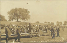 1910 9 29 BROOKIN AEROPLANE CHICAGO TO SPRINGFIELD, SEPT. 29, 1910 POST/PEORIA Barney Oldfield RPPC front