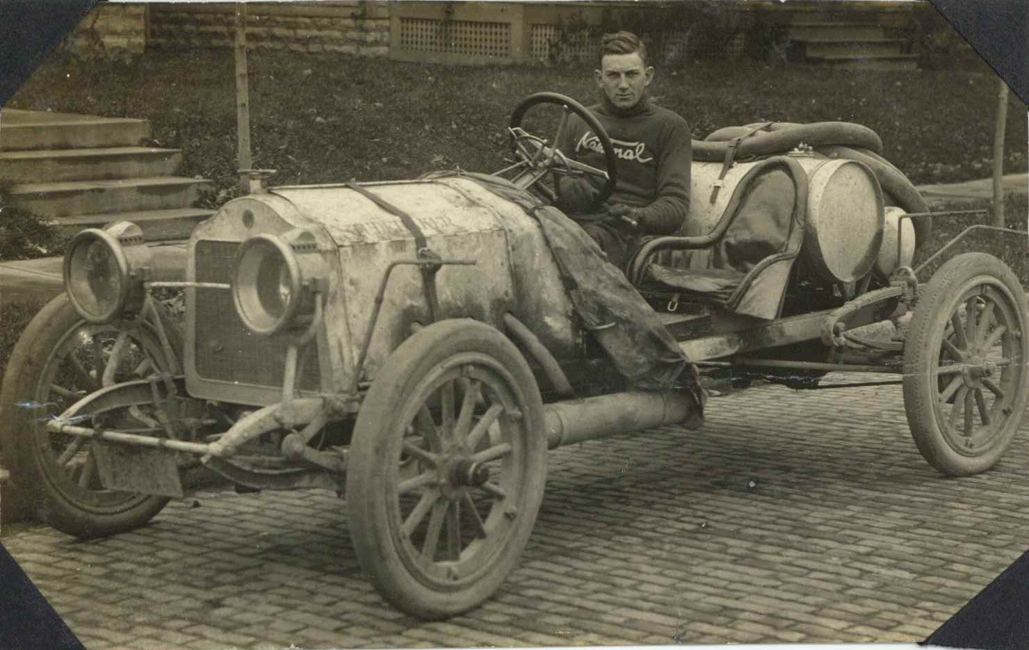 1912 ca. STUDEBAKER race car with a National sweatered driver RPPC ...