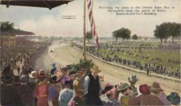 1916 ca. Watching the races at the Illinois State Fair at Springfield from the porch of Sears, Roebuck and Co.'s Building. postcard front