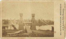1863 ca. CDV SUSPENSION BRIDGE At St. Anthonys Falls, Minnesota WHITNEY'S GALLERY ST. PAUL MINN 4″×2.25″ photo front