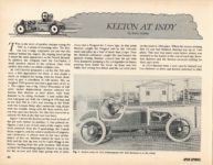 1913 KEETON AT INDY by Jerry Gebby ANTIQUE AUTOMOBILE March-April 1989 11″×8″ page 24
