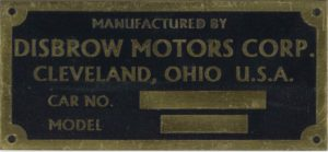 1917 DISBROW MANUFACTURED BY DISBROW MOTORS CORP id plate 3.5″×1.5″ brass GC
