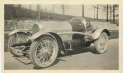 1917 ca. Unknown race car No. 11 left side 4″×25″ GC snapshot 1