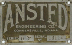 1918 ANSTED ENGINEERING CO CONNERSVILLE, INDIANA SERIES DX SERIAL NO. 10114 GC clean
