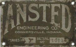 1918 ANSTED ENGINEERING CO CONNERSVILLE, INDIANA SERIES DX SERIAL NO. 10114 GC dirty