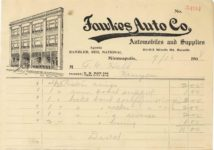 1908 9 16 Fawkes Auto Co. Minneapolis RAMBLER REO NATIONAL receipt 7.75″×5.5″