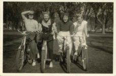 1937 ca. Fern Dale, born 1917 on bicycle snapshot 3.25″×2″ front