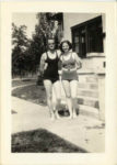 1938 ca. Fern Dale, born 1917 and friend snapshot 2.5″×3.5″