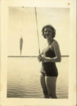 1938 ca. Fern Dale, born 1917 bathing suit and fish snapshot 2.5″×3.5″