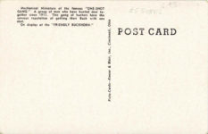 """1950 ca. On display at the """"FRIENDLY BUCKHORN"""" 26215 THE """"ONE SHOT"""" GANG, RICE LAKE, WISC. postcard back"""