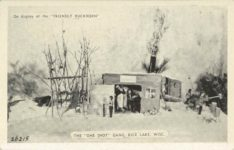 """1950 ca. On display at the """"FRIENDLY BUCKHORN"""" 26215 THE """"ONE SHOT"""" GANG, RICE LAKE, WISC. postcard front"""