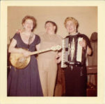 1955 ca. Fern Dale, born 1917 on banjo at Flame Bar, Minneapolis snapshot 3.5″×3..5″