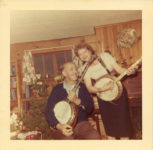 1955 ca. Fern Dale, born 1917 on banjo snapshot 3.5″×3.5″