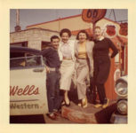 1955 ca. Fern Dale, born 1917 on right (Adris) Wells Country Western snapshot 3.5″×3.5″