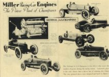 1929 ca. Harry Miller Engines and cars repro 8.5″×11″ Inside front cover & page 1