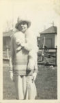 1930 ca. Styling lady with fox scarf VELOX snapshot 2.5″×4.5″