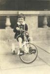 1939 ca. Cute boy on tri-cycle 4.5″×6.5″