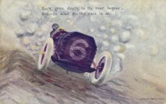 1910 Back grim death, to the rear begone, Records must go; the race is on! by L. F. Hess postcard front