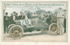 1911 6 8 Case Cars won First and Second in all the events entered at National Hill Climb, Algonquin, Ills. June 8, 1911 postcard front
