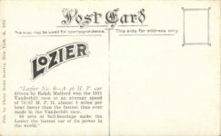 1911 Mulford in Lozier Winning the 1911 Vanderbilt Cup Race postcard back