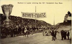 1911 Mulford in Lozier Winning the 1911 Vanderbilt Cup Race postcard front