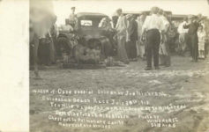1913 7 30 CASE WRECK of Case Special Driven by Joe Nickrent Galveston Beach Race July 30th 1913 RPPC front