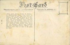 1915 ca. FRANK E. FITHEIN THE ARMLESS AUTO SPEED KING postcard back