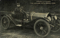 1915 ca. FRANK E. FITHEIN THE ARMLESS AUTO SPEED KING postcard front