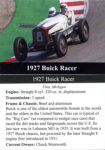 1927 Buick Racer trading card