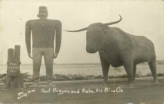 1937 ca. Paul Bunyon and Babe, his Blue Ox. Hak Bemidji, Minn RPPC front
