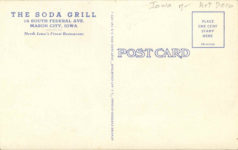 1940 ca. The Soda Grill MASON CITY, IOWA postcard back