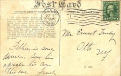 1913 10 5 FRANK E. FITHEN THE ARMLESS AUTO SPEED KING postcard back